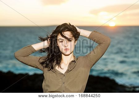 Pretty Girl Poses At Sunset