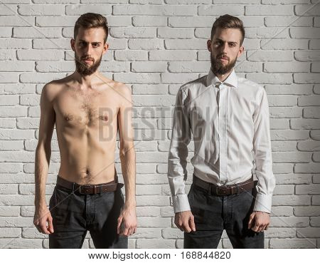 collage of handsome bearded man or hipster guy with serious face half in fashionable shirt pants and with bare slim or thin body chest and torso with anorexia on white brick wall background