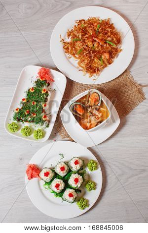 Food Japanese Cuisine: Rolls, Mussels, Salads. Top View