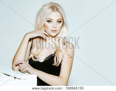 Pretty Platinum Blonde Girl In Black