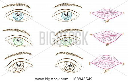 Hand Drawings of Different Types of Eyes and Lips. Blue Green and Brown Eyes and Pink Lips. Sketch Style. Vector Illustration.