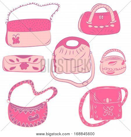 Set of Hand Drawn HandBags. Pink Glamorous Fashion bags. Vector Illustration.