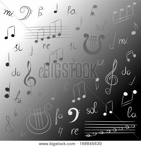 Hand Drawn Set of Music Symbols. Monochrome Doodle Treble Clef Bass Clef Notes and Lyre. Sketch Style. Vector Illustration.