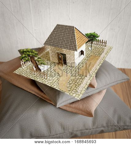 pillows collection and toy house from paper concept composition