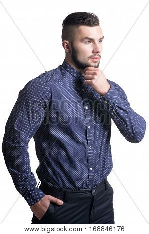 beautiful young man in formal clothes posing against white background