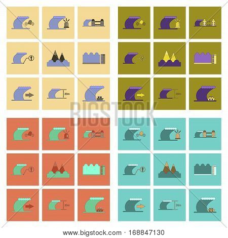 assembly of flat icons nature disaster tsunami