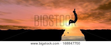 Concept conceptual 3D illustration young man businessman silhouette jump happy from cliff over water gap sunset sunrise sky background banner for freedom nature mountain success free, joy, health risk