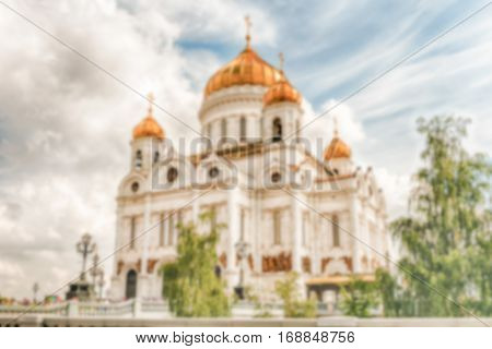 Defocused Background With Cathedral Of Christ The Saviour, Moscow, Russia