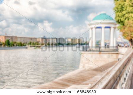 Defocused Background With View Over The Moskva River, Moscow, Russia