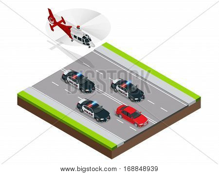 Police in pursuit of a criminal with a stolen car or drunk driving, speeding. Isometric Police Chase illustration concept. Law enforcement speeding after criminal