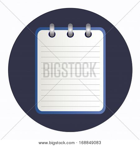 Blue tear-off notepad on the rings with lines. Blank sheet on blue background. School business diary. Template can be used for any design, on web sites. Vector icon in flat style. Square. Isolated.