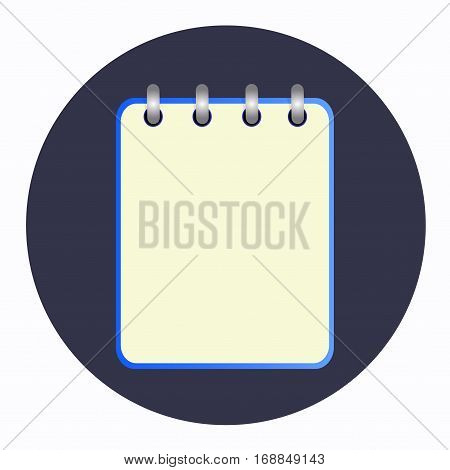 Blue tear-off notepad on the rings. Blank sheet on blue background. School business diary. Template can be used for any design, on web sites. Vector icon in flat style. Square. Isolated.