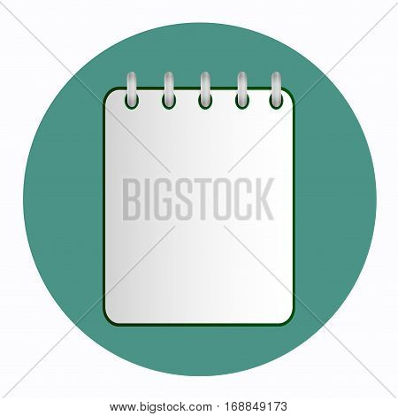 Green tear-off notepad on the rings with lines. Blank sheet on green background. School business diary. Template can be used for any design, on web sites. Vector icon in flat style. Square. Isolated.