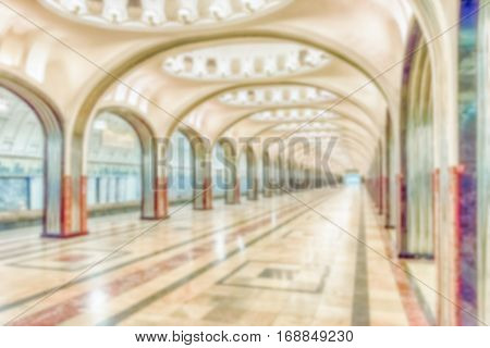 Defocused Background With Mayakovskaya Subway Station In Moscow, Russia
