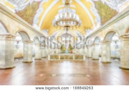 Defocused Background With Interior Of Komsomolskaya Subway Station In Moscow