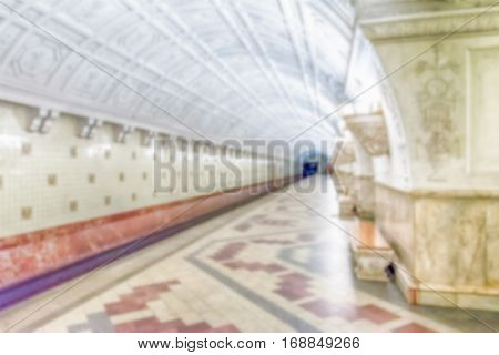 Defocused Background With Interior Of Belorusskaya Subway Station In Moscow