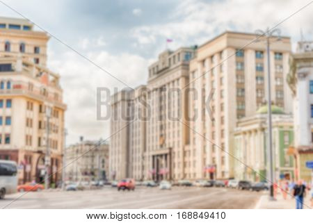Defocused Background Of The State Duma, Parliament Building Of Russia