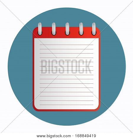 Red tear-off notepad on the rings with lines. Blank sheet on cyan background. School business diary. Template can be used for any design, on web sites. Vector icon in flat style. Square. Isolated.