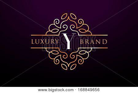 Y Letter Logo Luxury.Royal Monogram Design with Golden Metal Colors.