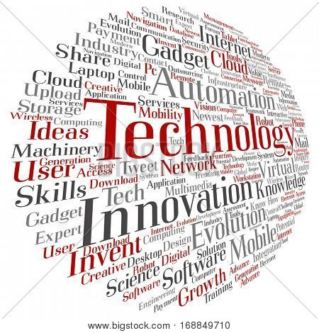 Concept or conceptual digital smart technology, media word cloud isolated on background metaphor to information, innovation, internet, future, development, research, evolution or intelligence