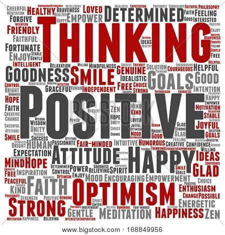 Vector concept or conceptual positive thinking, happy or strong attitude square word cloud isolated on background metaphor to optimism, smile, faith, goals, courageous, goodness, happiness inspiration