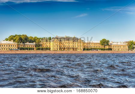 Facade Of The Menshikov Palace, St. Petersburg, Russia