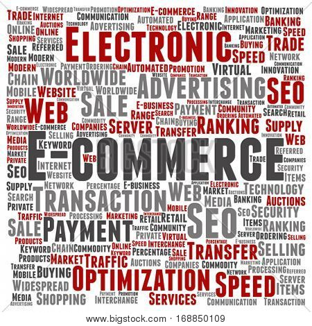 Vector concept or conceptual E-commerce electronic sales square word cloud isolated on background metaphor to seo, optimization transaction, web advertising, e-business, technology, worldwide supply