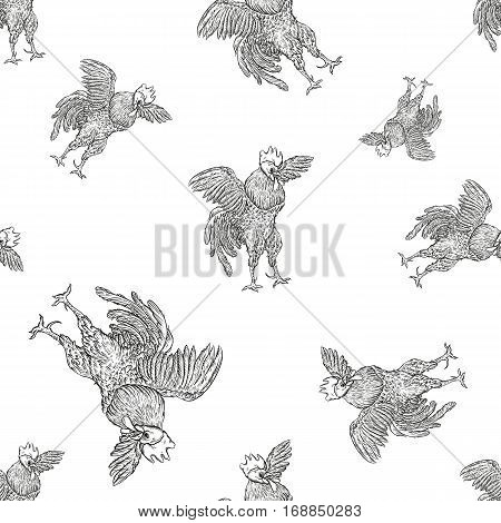 Rooster. Cock seamless pattern in Vintage engraving style. farms and manufacturing depicting roster. Grunge background for the chicken product. Farm painting. Cockerel.