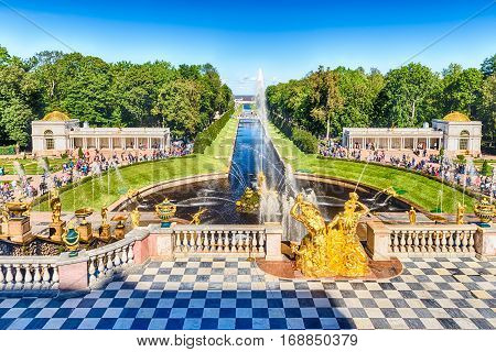 Scenic View From The Terrace Of Peterhof Palace, Russia