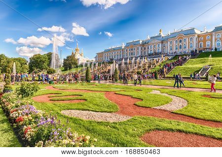 View Of The Peterhof Palace And Gardens, Russia