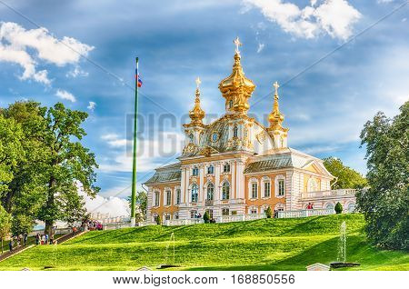 View Of The Church Of Grand Palace In Peterhof, Russia