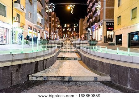 The Scenic Via Arabia At Night, Sightseeing In Cosenza, Italy