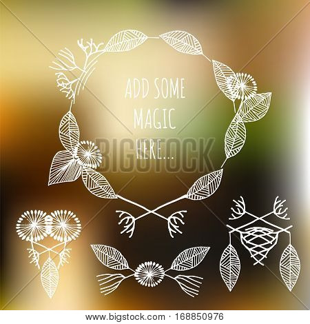 Set of hand drawn white vector decorative elements. Stock vector illustration of leaves swirls floral patterns for print and logo design in vintage tribal style.