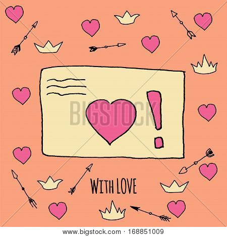 Romance Template Card With Hand Drawn Elements