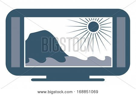 Wide screen flatscreen 4k TV with ocean scenery. Vector illustration
