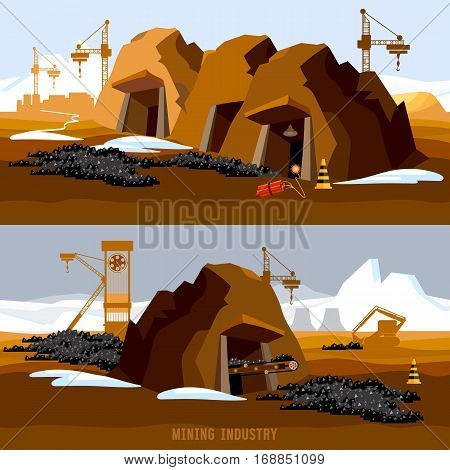Coal mine banner. Process of coal mining industry bulldozers conveyor cartoon. Excavator working on open pit coal mine