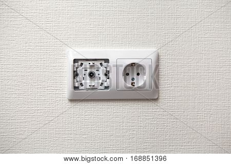 An electrical socket and TV outlet on wall in the room