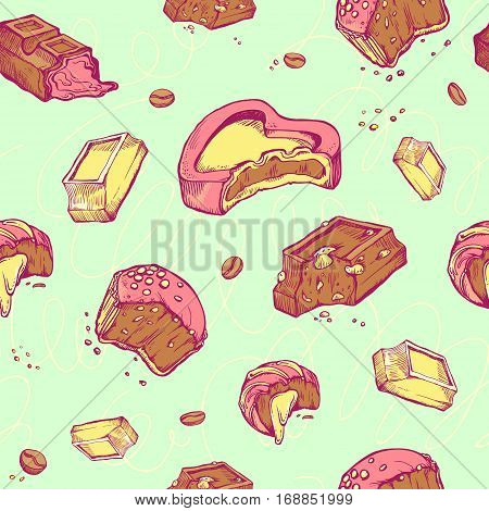 Vector seamless pattern of colored hand-drawn sketches bitten chocolates. Sweet rolls, bars, glazed, cocoa beans. handmade letters