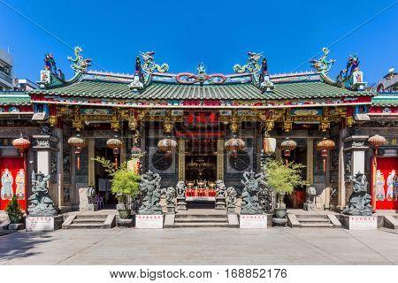 Kheng Hock Keong Temple in Yangon in Myanmar