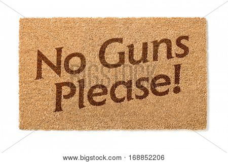 No Guns Please Welcome Mat Isolated On A White Background.