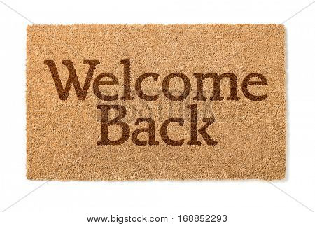 Welcome Back House Mat Isolated On A White Background.
