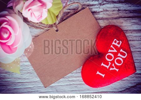 Valentines day and sweetest concept, love heart with rose