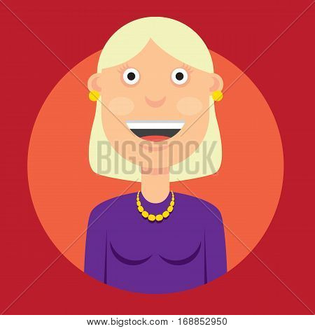 vector illustration of the character of a smiling woman with blond hair in a dress in a good mood on the round red background.
