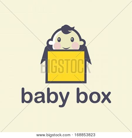 Vector cute baby logo in sketch style. Toys and games store doodle logo in tender colors