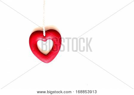 Valentines day and sweetest concept, love heart with red wine isolated on white background
