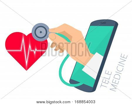 Red heart shape with pulse line doctor's hand holding a stethoscope through the phone screen checking heartbeat. Tele online remote medicine flat concept illustration. Vector isolated design.