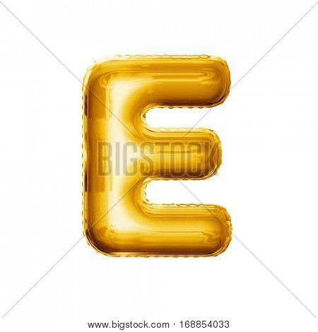 Balloon letter E. Realistic 3D isolated gold helium balloon abc alphabet golden font text. Decoration element for birthday or wedding greeting design on white background