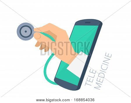 Doctor's hand holding a stethoscope through the phone screen checking pulse. Tele online remote medicine flat concept illustration. Vector design infographic element isolated on white background.