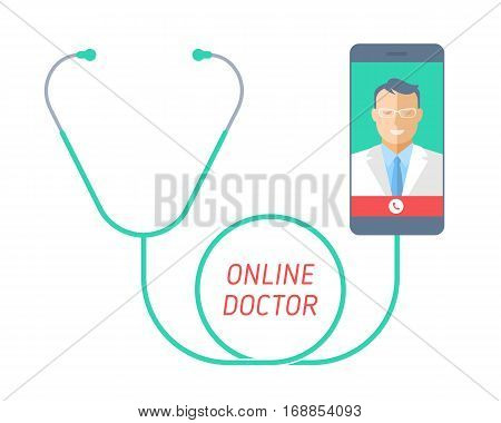 Stethoscope with mobile phone doctor on the screen. Telemedicine and telehealth flat concept illustration of smart phone medic and phonendoscope. Vector design element for tele medical infographic.