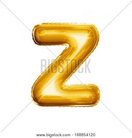 Balloon letter Z. Realistic 3D isolated gold helium balloon abc alphabet golden font text. Decoration element for birthday or wedding greeting design on white background